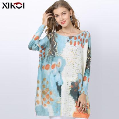 Dámský barevný svetr s potiskem Xikoi Knote