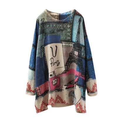 Dámský barevný svetr s potiskem retro loose