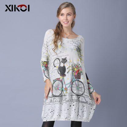 Dámský dlouhý svetr s potiskem Xikoi Catsi béžová