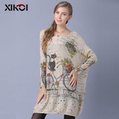 Dámský dlouhý svetr s potiskem Xikoi Catsi meruňková