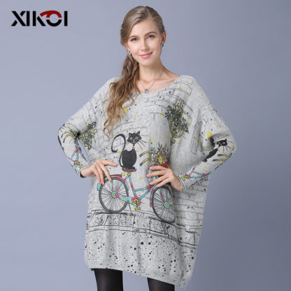 Dámský dlouhý svetr s potiskem Xikoi Catsi šedá