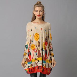 Dámský dlouhý svetr s potiskem Xikoi Juke meruňková