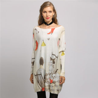 Dámský dlouhý svetr s potiskem Xikoi M54 béžová