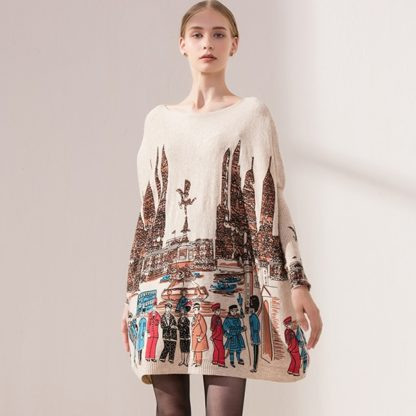Dámský dlouhý svetr s potiskem Xikoi Suete meruňková