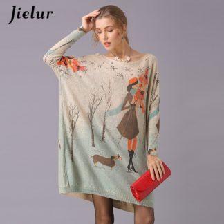 Dámský dlouhý svetr s potiskem Jielur khaki