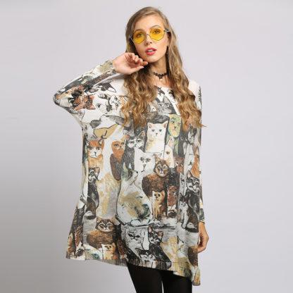Dámský dlouhý svetr s potiskem Soft Warm béžová