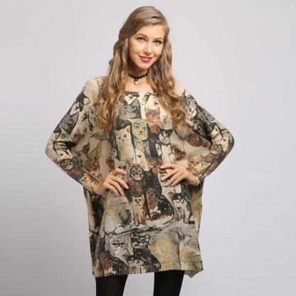 Dámský dlouhý svetr s potiskem Soft Warm meruňková