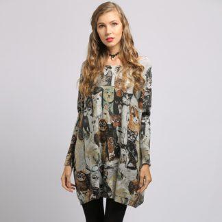 Dámský dlouhý svetr s potiskem Soft Warm šedá