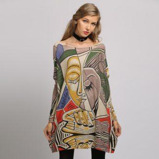 Dámský dlouhý svetr s potiskem Xikoi 525